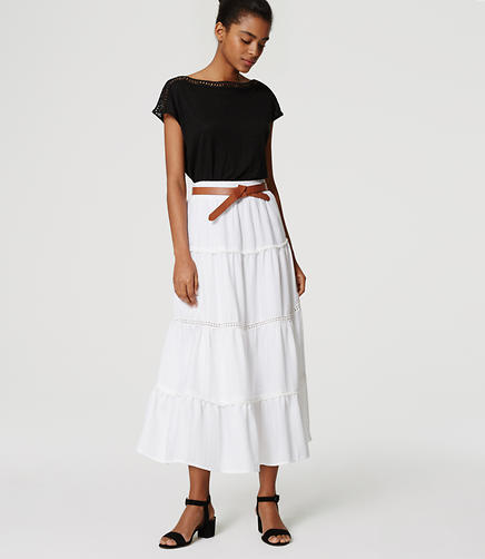 Image of Tiered Midi Skirt