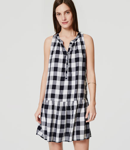 Image of Petite Gingham Drop Waist Dress