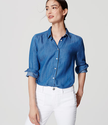 Image of Shirred Chambray Softened Shirt