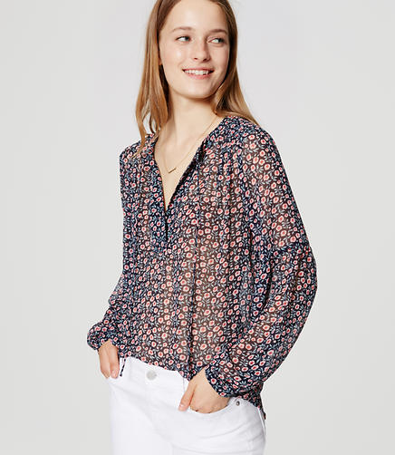 Image of Blossom Sheer Tie Neck Blouse