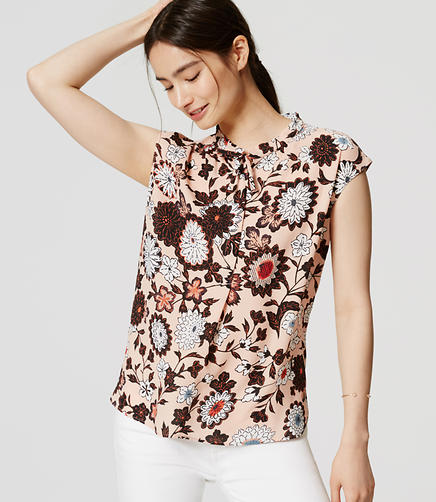 Image of Floral Tie Neck Top
