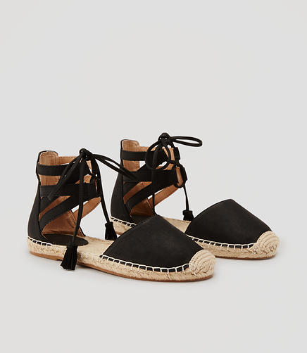 Image of Tasseled Ankle Tie Espadrilles