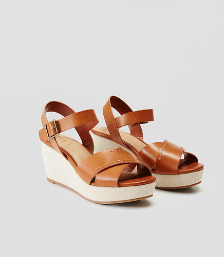 Image of Crossover Ankle Strap Wedge Sandals