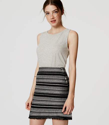 Image of Striped Fringe Skirt