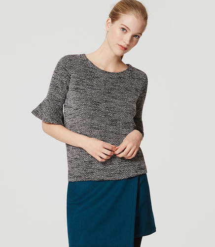 Image of Tweed Tulip Sleeve Top