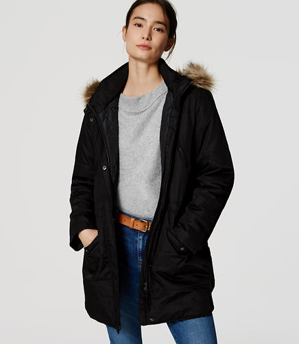 Image of Faux Fur Trim Parka