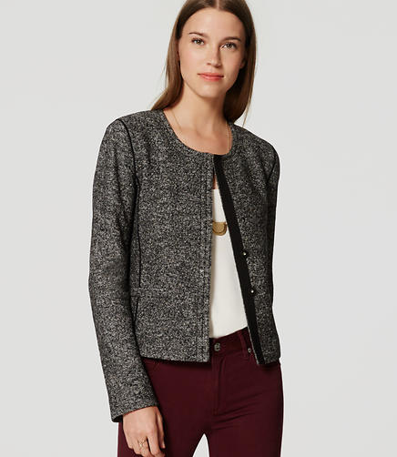 Image of Petite Tweed Knit Jacket