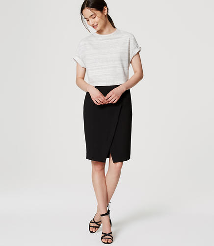 Image of Petite Pocket Wrap Pencil Skirt