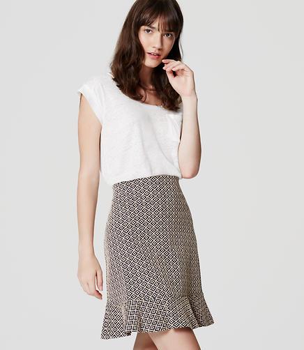 Image of Petite Tile Jacquard Flounce Skirt