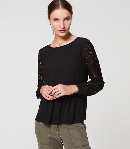 Image of Lace Sleeve Peplum Blouse