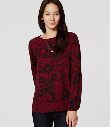 Image of Paisley Lantern Sleeve Blouse