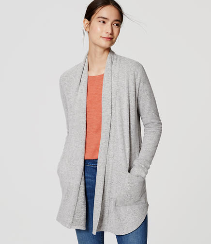 Image of Speckled Shirttail Open Cardigan