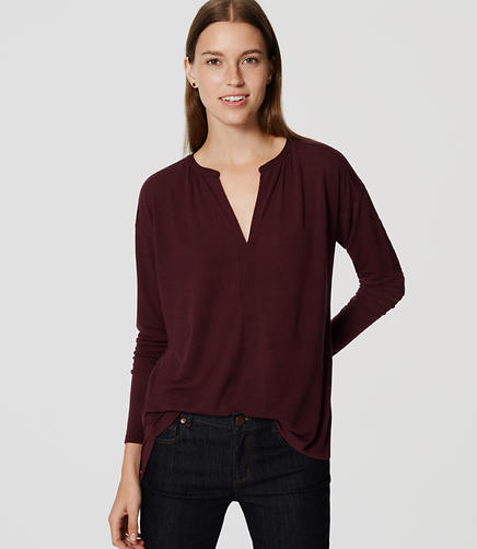Image of Shirred Split Neck Top