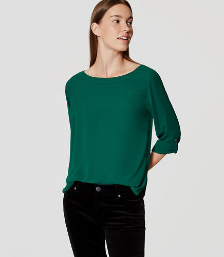 Image of Tab Sleeve Pleat Back Blouse