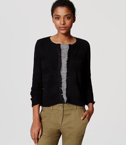 Image of Fringed Sweater Jacket
