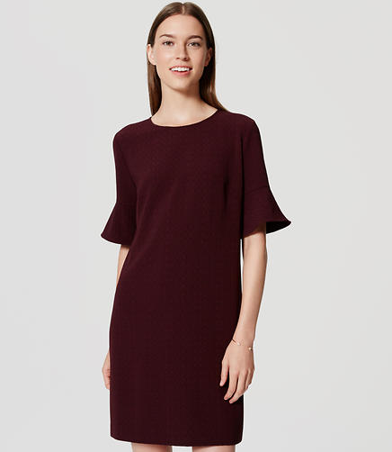 Image of Textured Bell Sleeve Dress