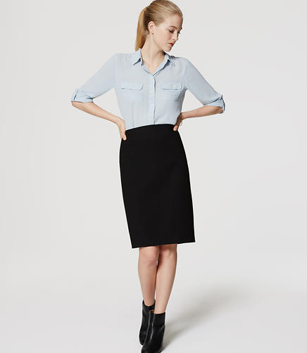 Image of Seamed Scuba Pencil Skirt
