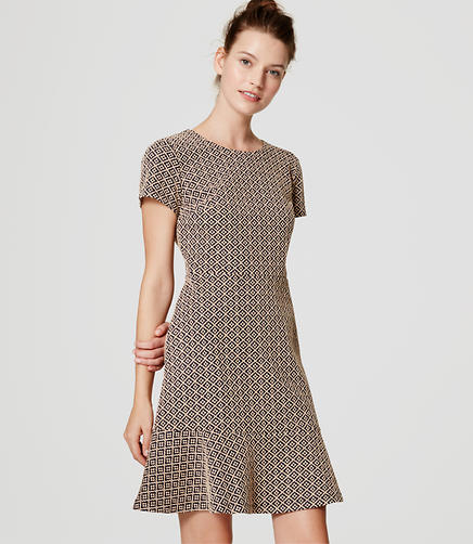 Image of Petite Tile Jacquard Flounce Dress