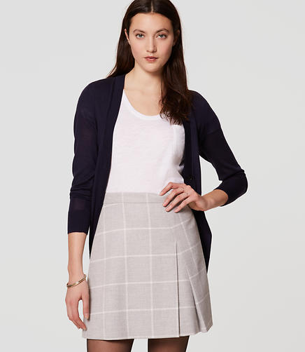 Image of Windowpane Pleated Skirt