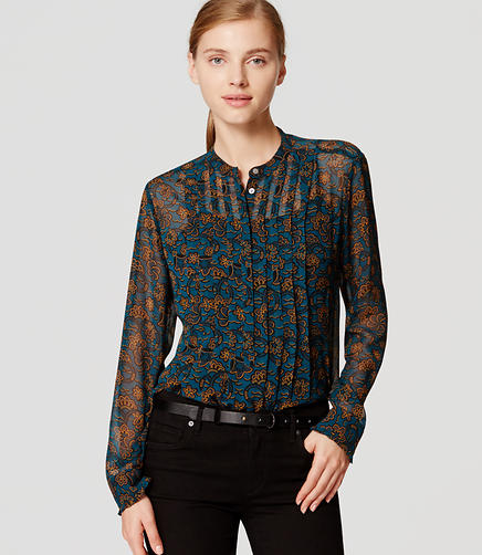 Image of Floral Pintucked Blouse