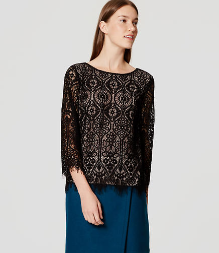 Image of Long Sleeve Lace Top