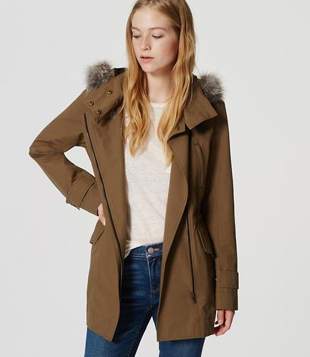 Image of Petite Faux Fur Trim Anorak
