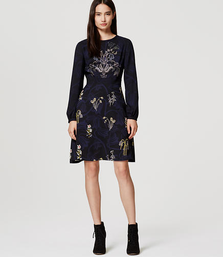 Image of Petite Valley Floral Flare Dress