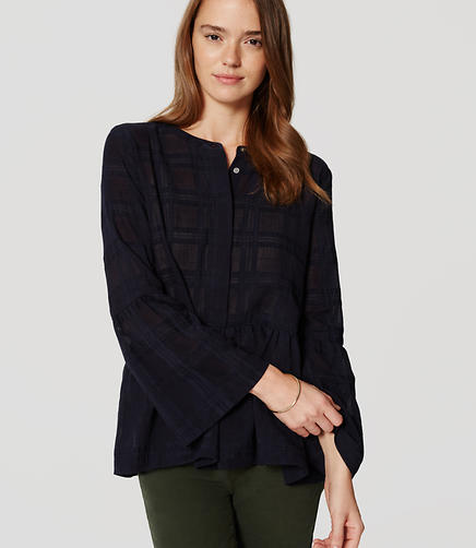 Image of Plaid Peplum Blouse