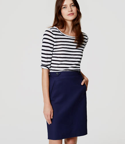 Image of Button Tab Pencil Skirt