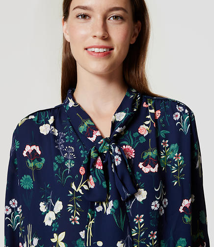 Image of Petite Valley Floral Bow Blouse