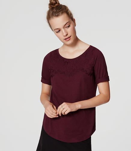 Image of Embroidered Ballet Neck Tee