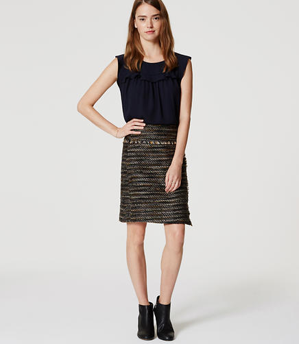 Image of Petite Fringe Tweed Wrap Skirt