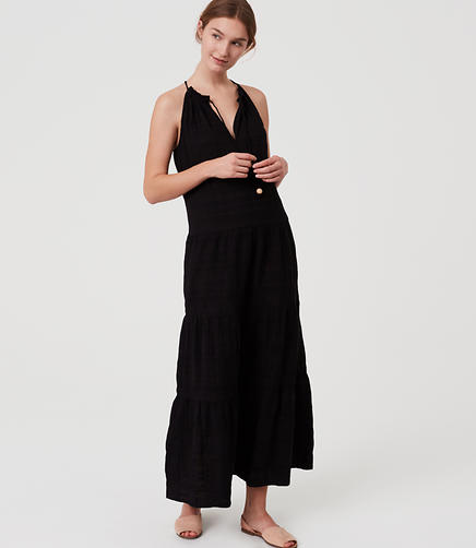 Image of LOFT Beach Tiered Halter Maxi Dress