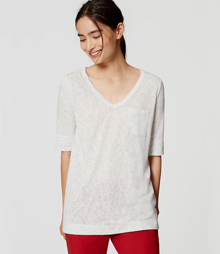 Image of Long V-Neck Pocket Tee