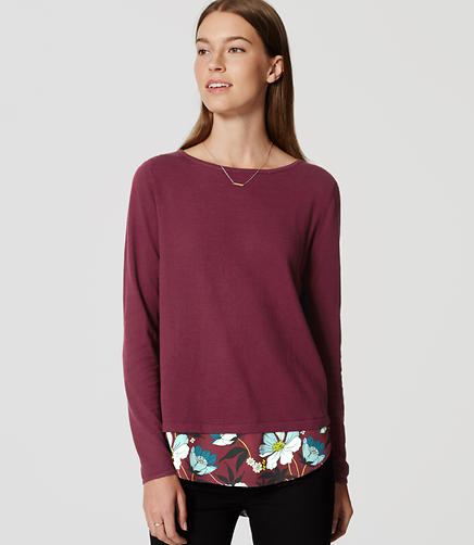 Image of Floral Mixed Media Shirttail Sweater