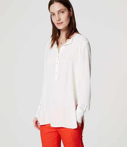 Image of Collarless Henley Tunic