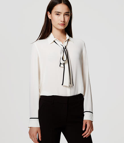 Image of Tipped Bow Blouse