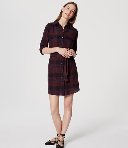 Image of Plaid Tie Waist Shirtdress