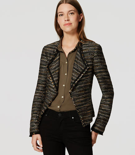 Image of Petite Draped Fringe Tweed Jacket