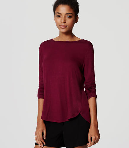 Image of Petite Seamed Shirttail Tee