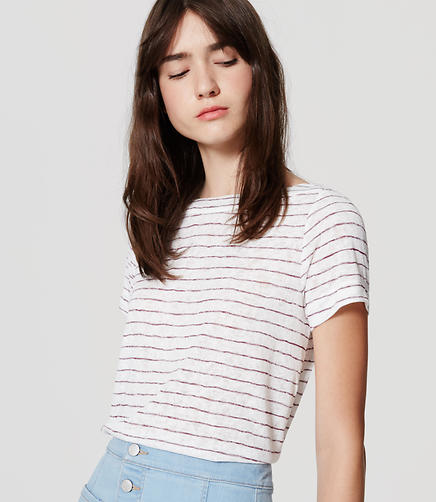 Image of Petite Striped Boatneck Tee