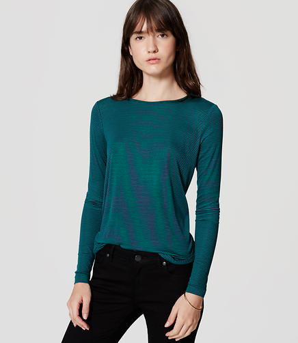 Image of Petite Stripe Seamed Shirttail Tee