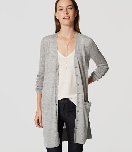 Image of Petite Long V-Neck Cardigan