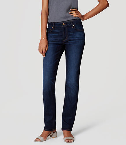 Image of Petite Curvy Straight Leg Jeans in Dark Stonewash
