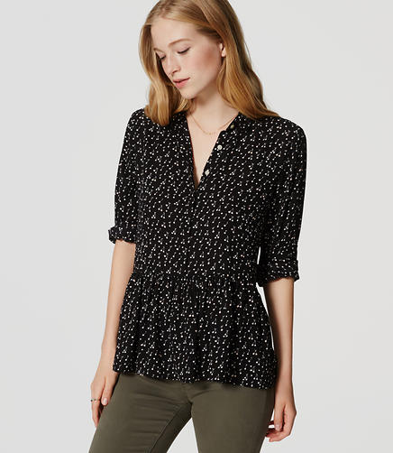 Image of Cherry Peplum Utility Blouse