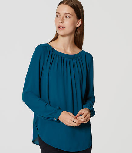 Image of Petite Shirred Blouse