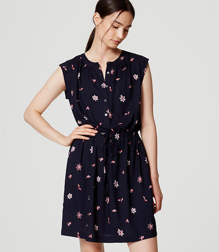 Image of Floral Henley Shirtdress