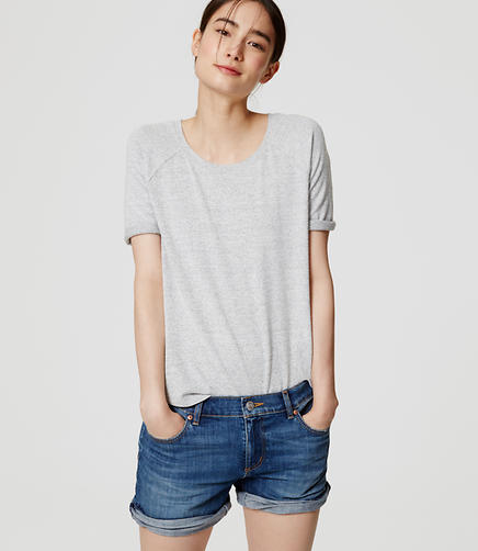 Image of Petite Relaxed Skinny Denim Shorts in Medium Stonewash