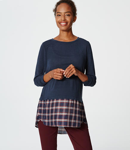 Image of Maternity Plaid Two In One Sweater