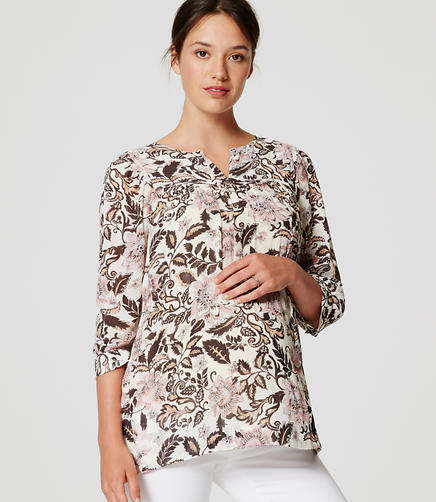 Image of Maternity Woodblock Floral Split Neck Blouse
